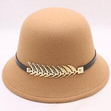 BING YUAN HAO XUAN Brand Fedoras with Belt Womens Hat Autumn winter Women Classical Cap Imitation Wool Chapeau Hats for
