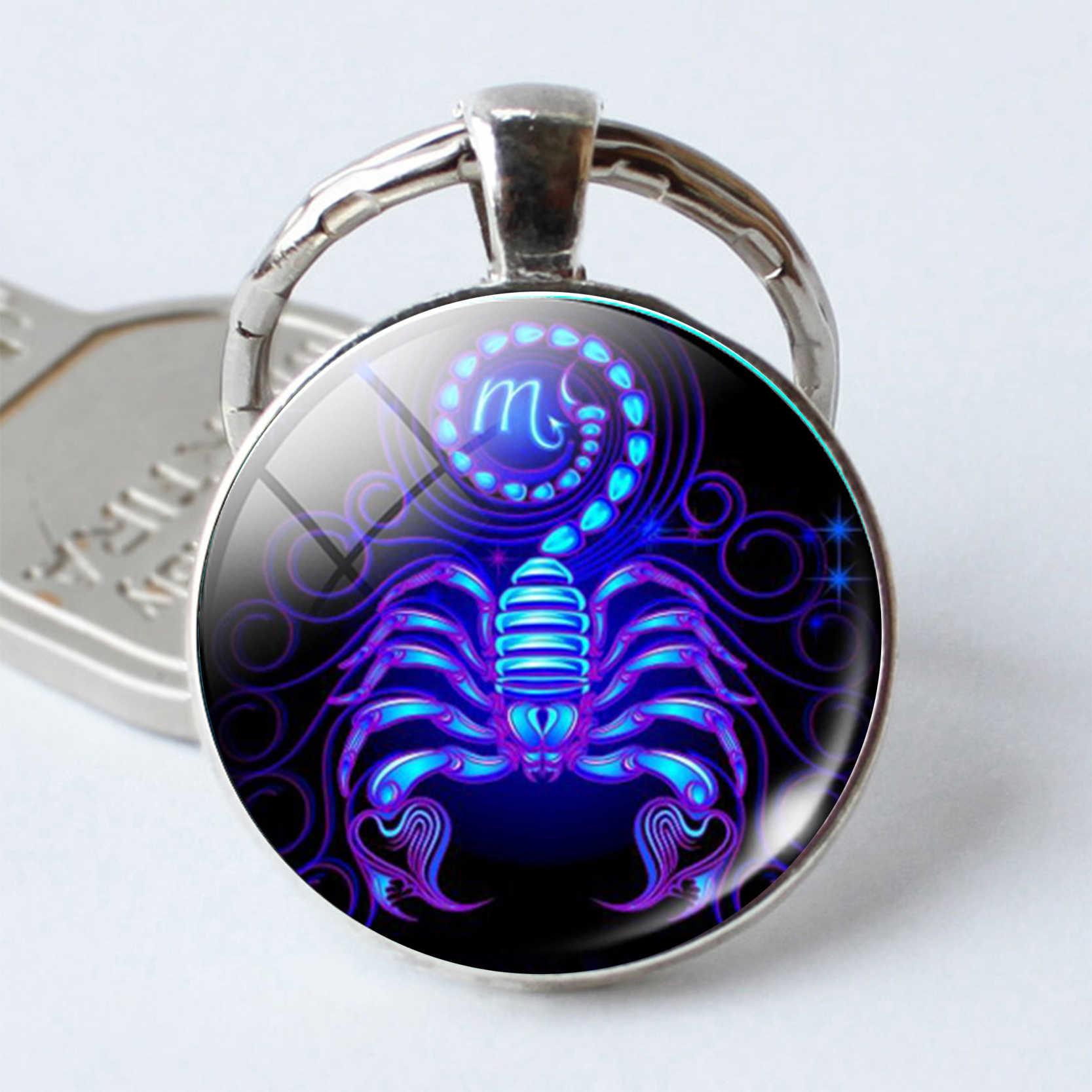 ScorpioKey โซ่ Glas Silver Plated Key แหวนราศีพิจิกแก้วรอบ Keyrings ของขวัญวันวาเลนไทน์สำหรับเธอเขา
