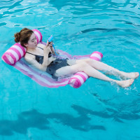 Eco friendly PVC Water Toys Inflatable Floating Row Pool Floating Water Bed Single Swimming Water Hammock Floating Swimming Ring