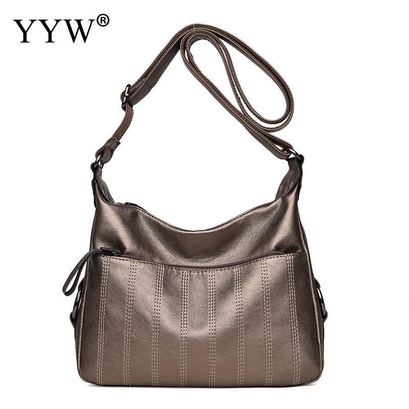Female Shoulder Bag Ladies' PU Leather Handbag Bronze Crossbody Bag Luxury Handbags Women Hobos Bags Designer Womens' Pouch будильник вега