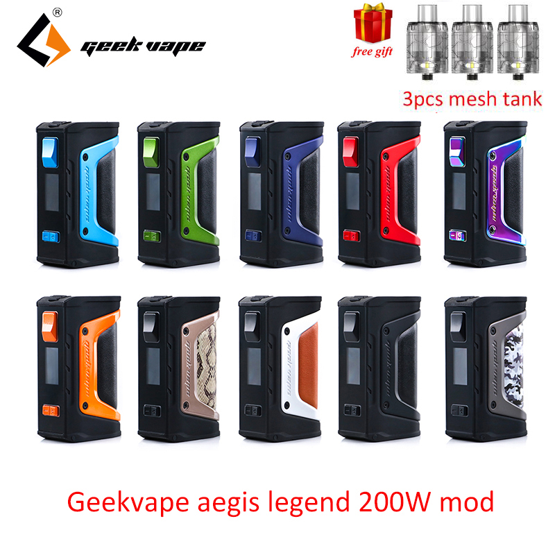 Freies geschenk GeekVape Aegis mod aegis Legende 200 watt TC Box MOD Angetrieben durch Dual 18650 batterien e cigs Keine batterie für zeus rta blitzen