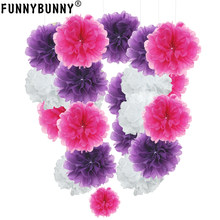 pompon Tissue Paper Pom Poms Flower Balls for wedding room Decoration Party Supplies diy craft paper flower(China)
