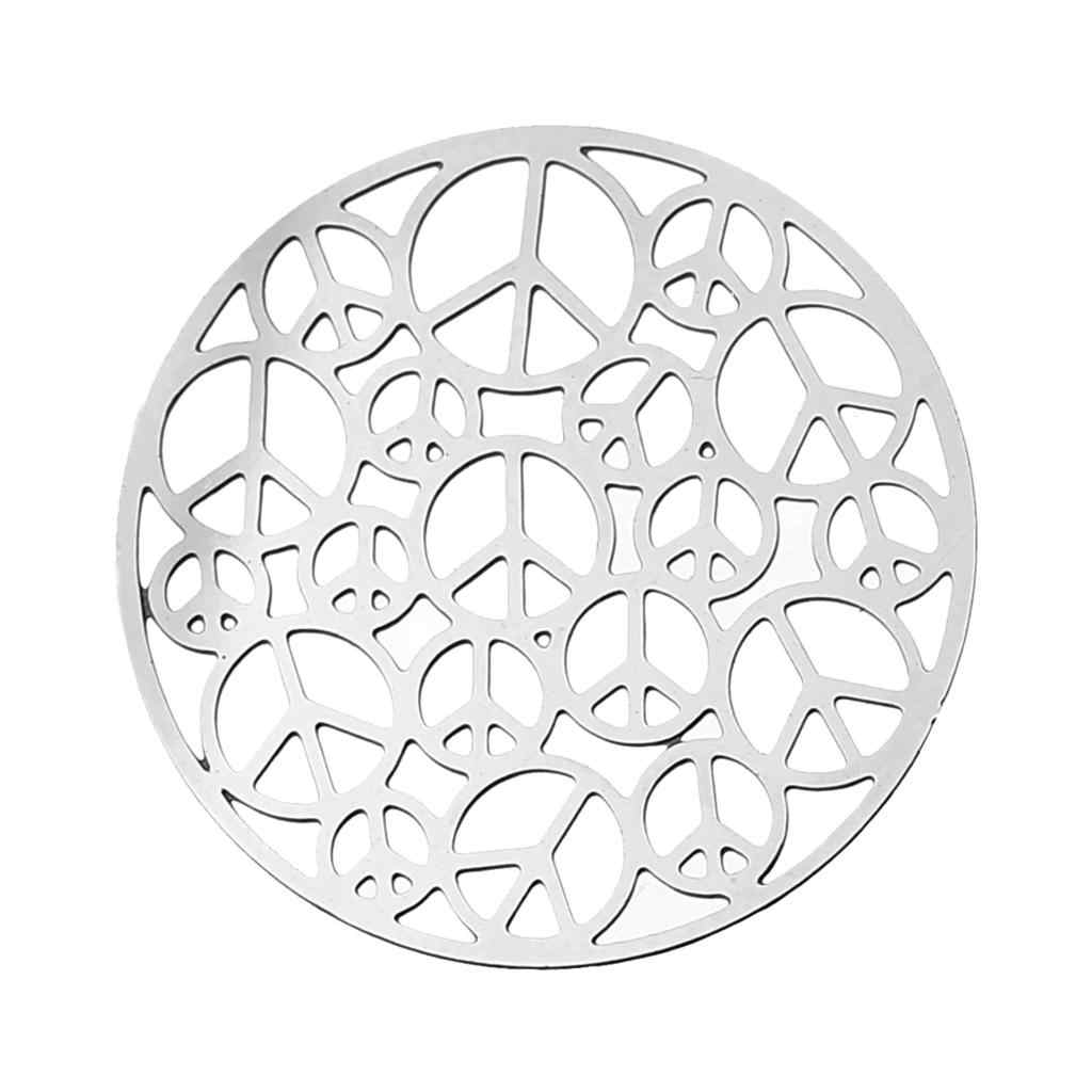 "DoreenBeads Filigree สแตนเลส Embellishments ผลการค้นหารอบ Silver TONE Hollow สัญลักษณ์สันติภาพ 25 มม.(1 "") DIA, 1 ชิ้น"