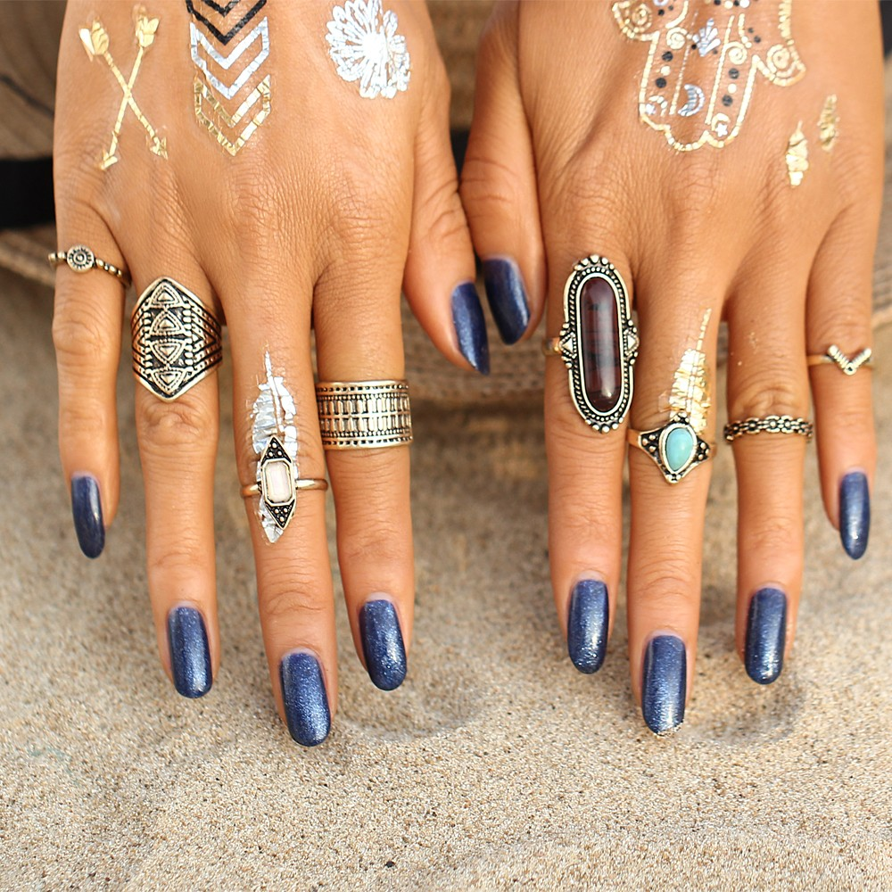 IF YOU Vintage Lucky Stone Finger Midi Ring Set para mujeres Boho Gothic Antique Knuckle Rings para mujeres joyería