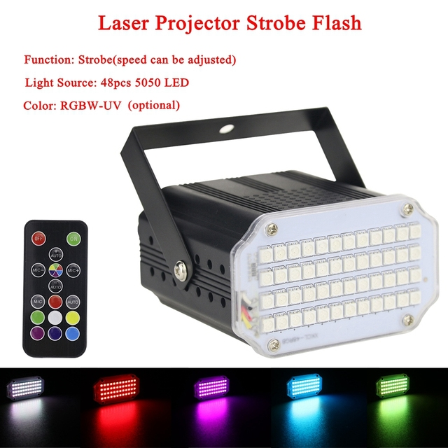 High-grade aluminium alloy shell 48Pcs LED DJ Disco Sound Activated Laser Projector Strobe Flash RGBW-UV Stage Music Party Light