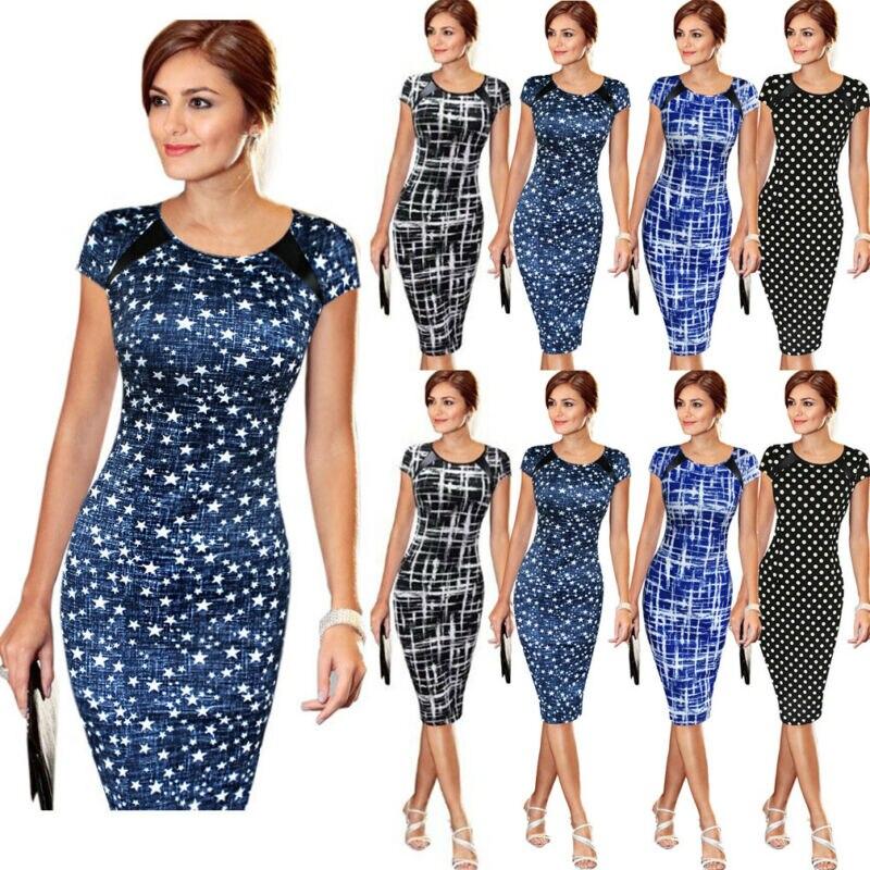 Stylish Elegant Women's High-waist Short Sleeve Dot Star Print Dress Formal Business Work Sheath Pencil Knee-length Dresses 3XL