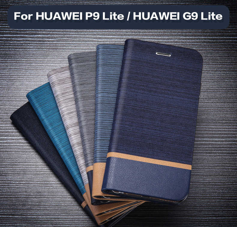 Pu Leather Phone Case For Huawei P9 Lite Flip Book Case For Huawei G9 Lite Business Card Slot Case Soft Tpu Silicone Back Cover