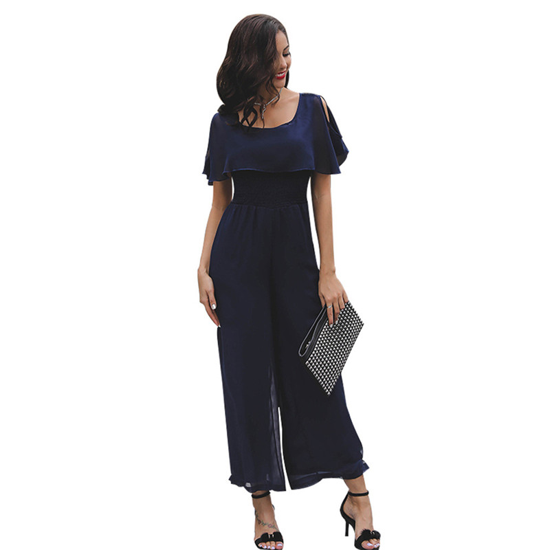 Vertical Striped Summer Jumpsuit Romper Sexy Women Rompers Wide Leg Loose Casual Overalls 4