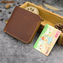 PNDME simple vintage crazy horse leather cowhide men women multi card wallet genuine short brown coin purse ID Holders