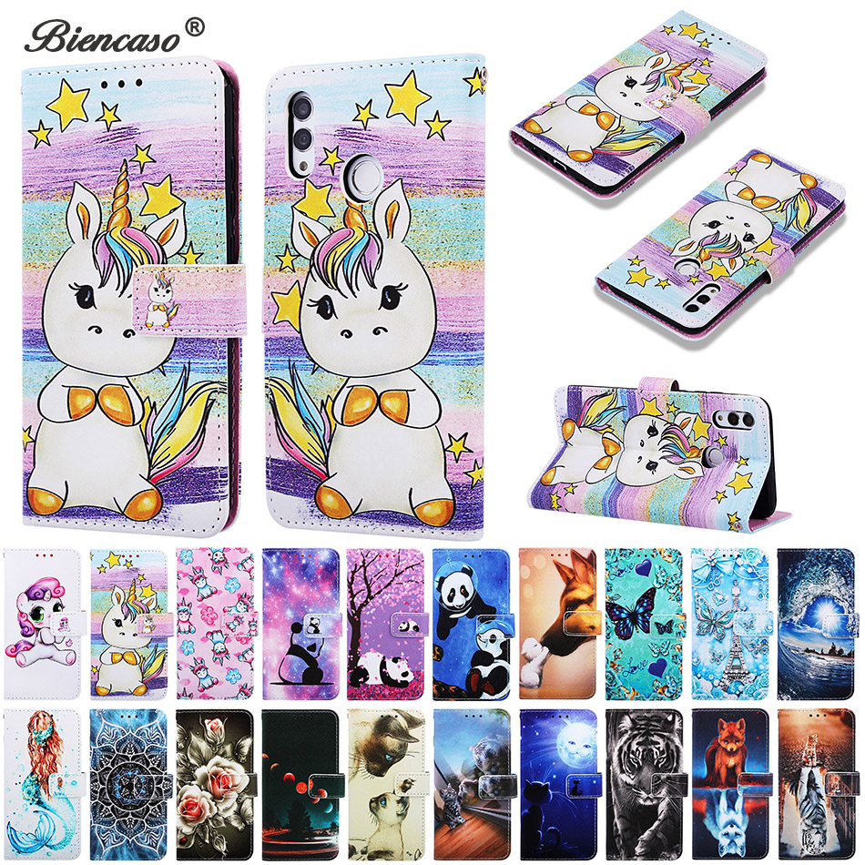 P Smart 2019 Tiger Panda Pattern Wallet <font><b>Flip</b></font> Card Slot <font><b>Case</b></font> For Huawei Honor <font><b>10</b></font> <font><b>Lite</b></font> Play 8A Y6 Pro 2019 <font><b>Mate</b></font> 20 <font><b>Lite</b></font> Back Cover image