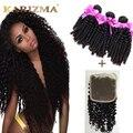 Cabelos Cacheados Crespo mongol Com Fechamento 3 Bundles Afro Kinky Curly cabelo Com Laço Frontal 4*4 Fechamento Cabelo Humano Com Cabelo Do Bebê