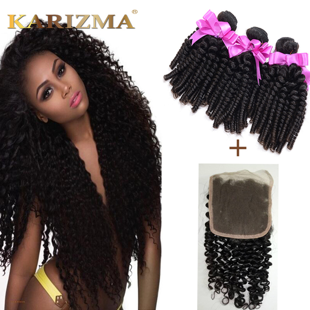 Mongolian Kinky Curly Hair With Closure 3 Bundles Afro Kinky Curly Hair With Lace Frontal 4*4 Human Hair Closure With Baby Hair