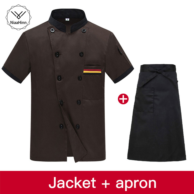 Food Service Uniform Coat New Summer Short-sleeved Breathable Black Chef Jacket Restaurant Hotel Cook Suit Man Woman Work Wear