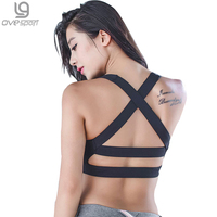 Sexy Women Fitness Cut Out Bra Crop Tops Seamless Padded Vest Breathable Push Up Ladies Bras