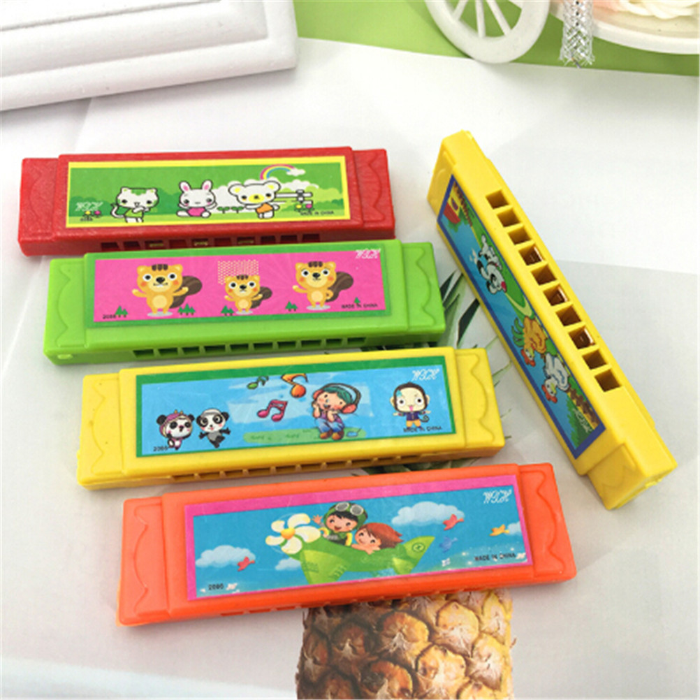 Fun Double Row Musical Early Educational Toy 1 Piece 9.7Kids Cute Flower Wood Plastic 10Holes Harmonica Toy Random Color