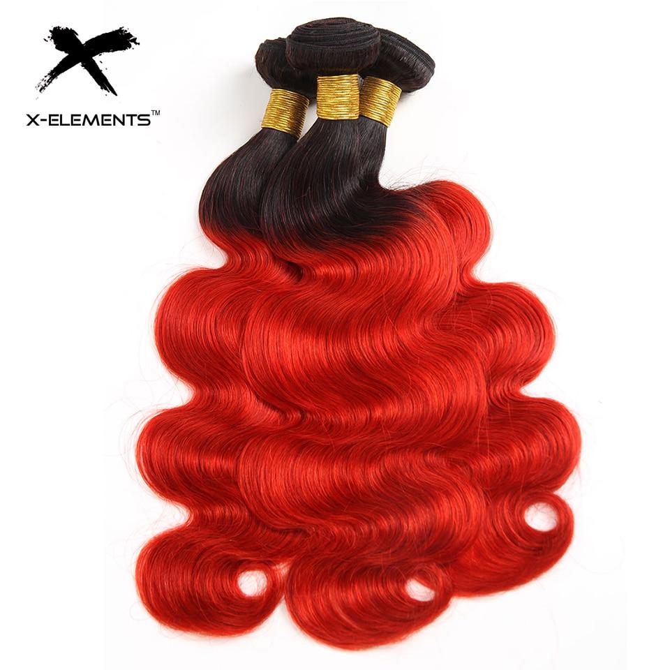 X-Elements Brazilian Ombre Body Wave Hair Bundles T1B 30 Burgundy 39J Purple Colored Human Hair Weave Non-Remy Hair Extensions (19)