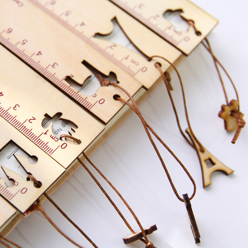 Cute Kawaii Cartoon Animal Crown Pendant Wooden Ruler Tower Bookmark Creative Drawing Korean School Stationery Supplies Gift