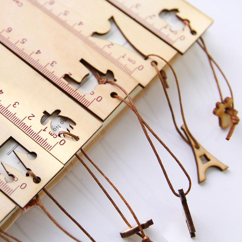 Cute Kawaii Cartoon Animal Crown Pendant Wooden Ruler Tower Bookmark Creative Drawing Korean School Stationery Supplies Gift