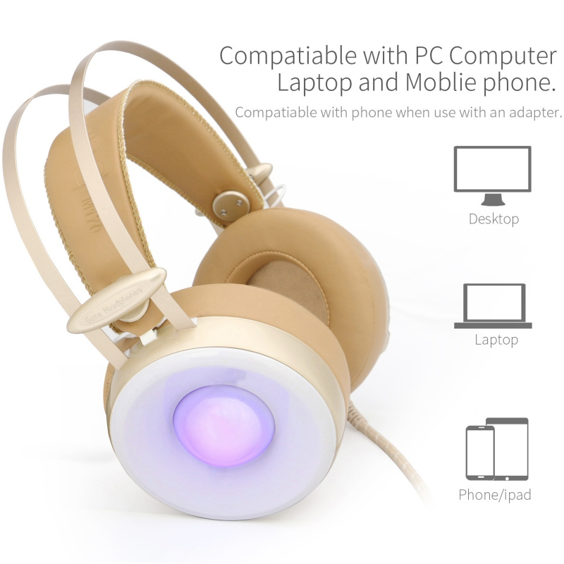 Professional M170 3.5mm PC Stereo Gaming Headset With Mic Over-Ear Headphones Volume Control 4 Kinds of Breathing LED Lights