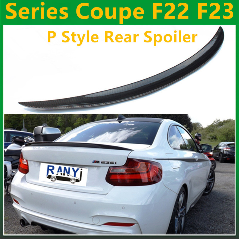 2 series coupe F22 F23 high quality Performance P style carbon fiber rear spoiler wings fits for bmw F22 2014 - 2016 220i M235i yandex w205 amg style carbon fiber rear spoiler for benz w205 c200 c250 c300 c350 4door 2015 2016 2017