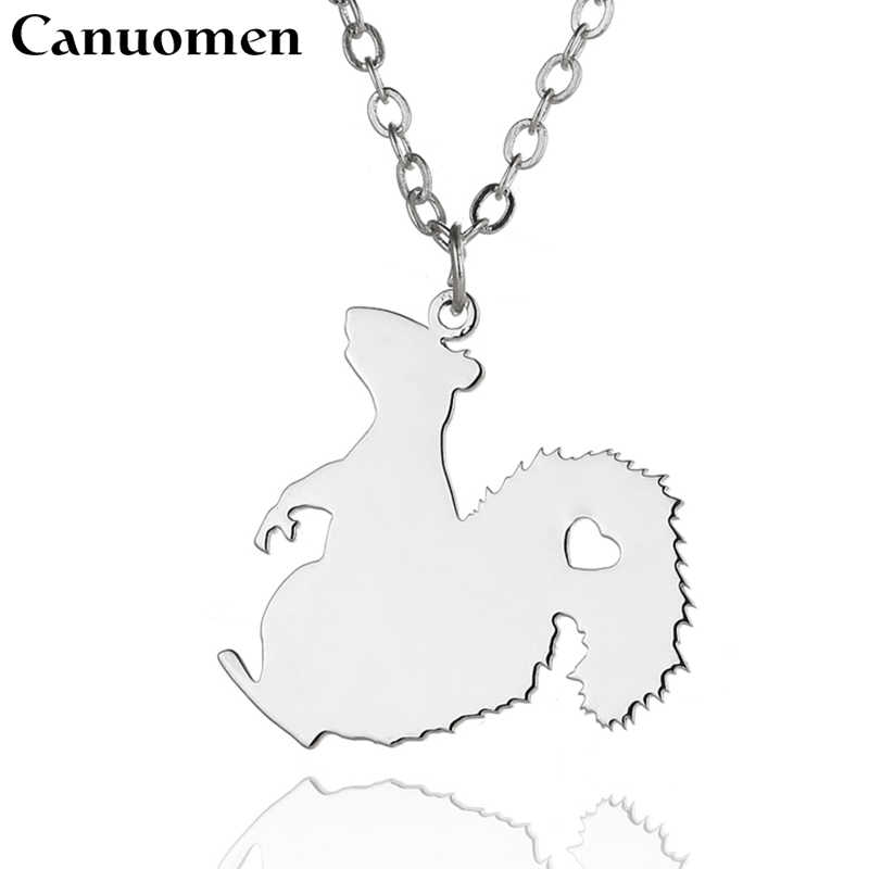 Canuomen Squirrel Pendant with Love Heart Stainless Steel Animals Lovers Necklaces Link Chain for Men and Women Charm Jewelry