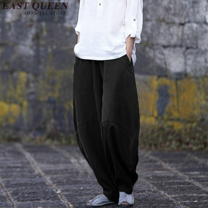 Casual Loose Baggy Pants Women Chinese Style Solid Color Bloomers Elastic Waist Oversize Wide Leg Pants AA2836 YQ
