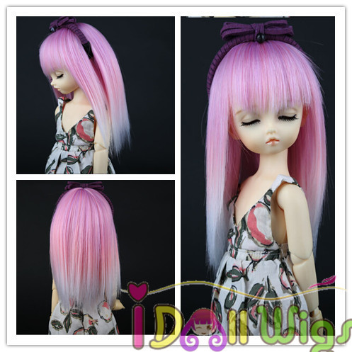 цена на Free shipping Hot Sales Heat Resistant fiber Straight Pink White Ombre with full bangs BJD 1/3 1/4 1/6 1/8 Doll Wigs for Choice