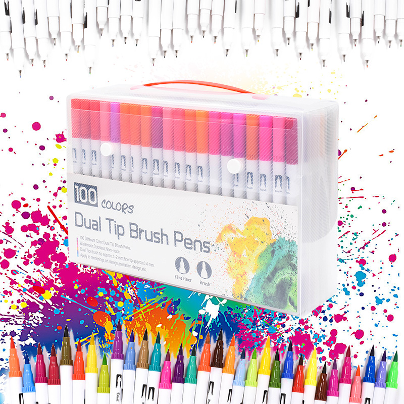 Newest 100 Color Dual Tip Brush Pens Fine liners Brush Tip Water Based Ink Art Markers