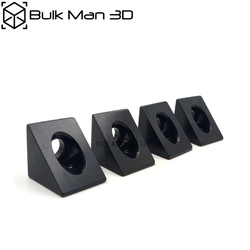 100pcs Black 90 Degree Angle Corner Connector Bracket Fit 20mm Aluminum Profile Extrusion CNC Router/3D Printer Parts