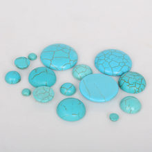 HOT! Cabochons en pierre synthétique Howlite, blanc/bleu, demi-rond, à dos plat, pour la fabrication de bijoux, DIY
