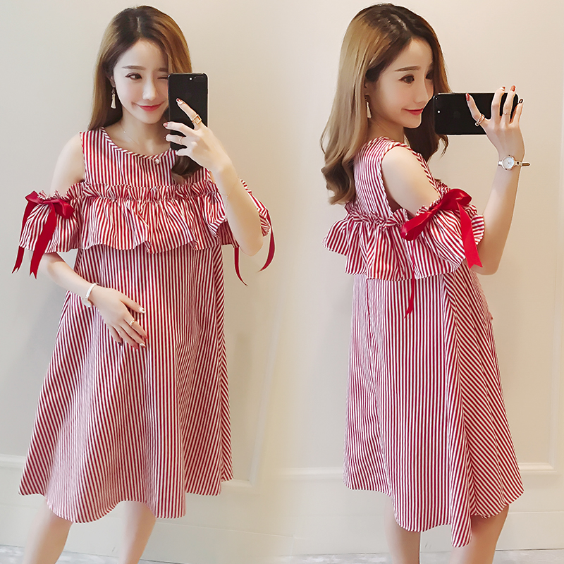 Summer Maternity Dresses Bow Sleeve Dress Clothes for Pregnant Women Daily Wearing Striped Pregnancy Clothing B0416