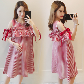 Summer Maternity Dresses Bow Sleeve Dress Clothes for Pregnant Women Daily Wearing Striped Pregnancy Clothing B0416 pregnancy dress maternity dresses clothes for pregnant women dress summer fashion striped dresses mother woman clothing