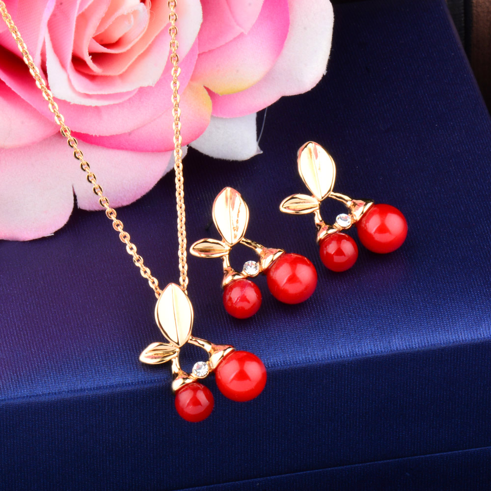 SINLEERY Cute Red Cherry Bridal Jewelry Sets Silver/Gold Color Women Wedding Engagement Jewelry Gifts TZ067 SSC