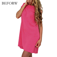 BEFORW Summer New Simple Style Women Dress Solid Color Elegant Party Mini Dresses Fashion Office Dress