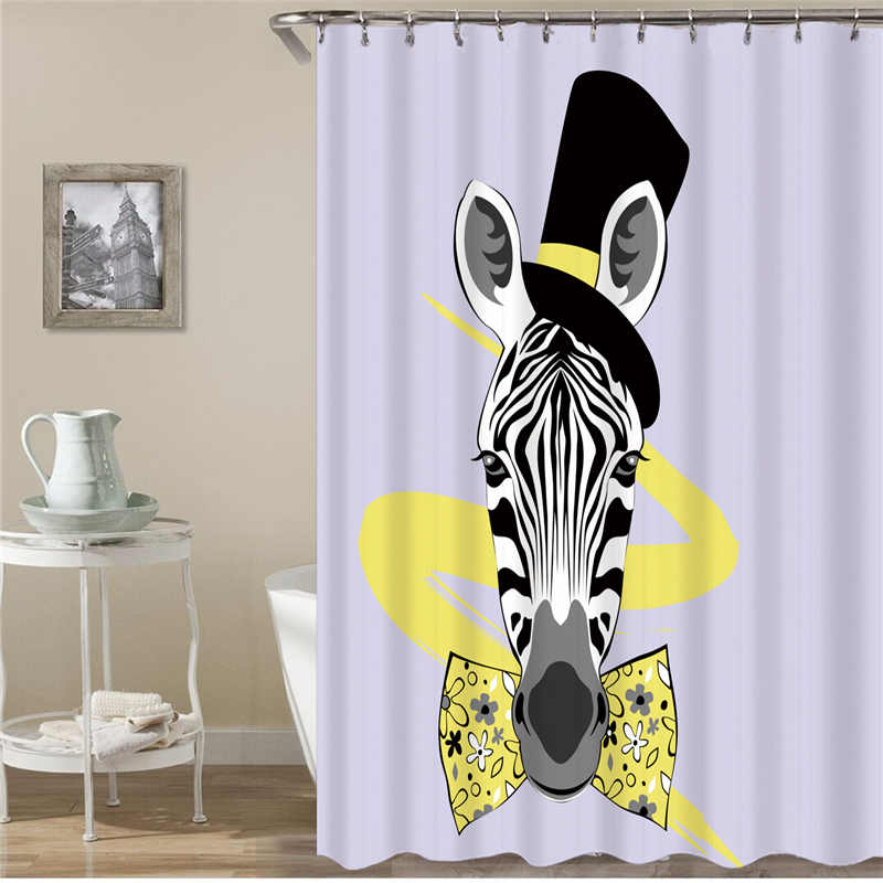Kiwiberry Cool Stripe Horse Print  bathroom Shower Curtain Fabric Liner with 12 Hooks 72Wx80H inch Waterproof and Mildewproof zwbra shower curtain