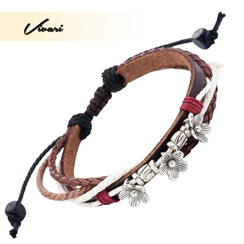 Vivari 2017 Women Bangle Flowers Pattern Men Leather Bracelet Zinc Alloy Unisex fashion Accessories Air Mail