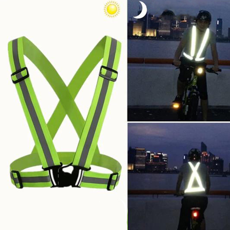 New Unisex Outdoor Cycling Safety Vest Bike Ribbon Bicycle Light Reflecing Elastic Harness For Night Riding Running Jogging Bicycle Light Cycling