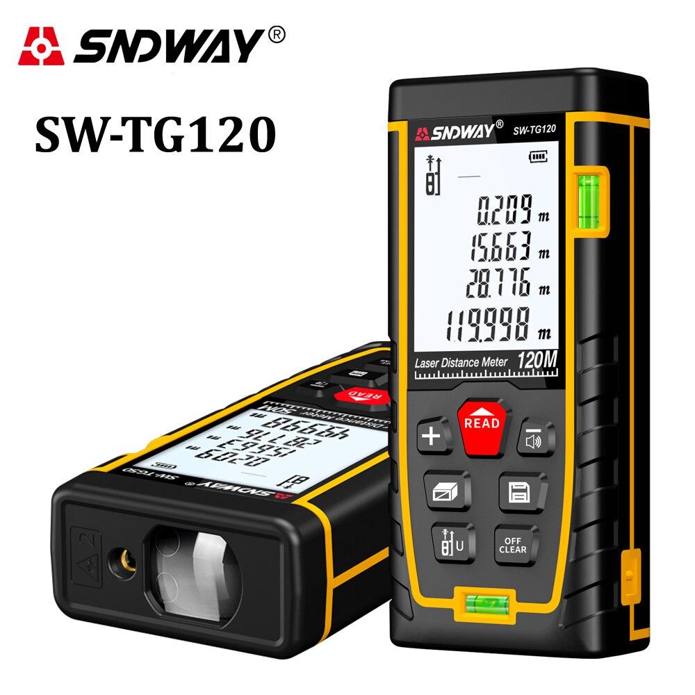 SNDWAY Laser distance meter 120m range finder trena tape measure tool laser meter roulette SW TG120 Building measure rangefinder-in Laser Rangefinders from Tools    1