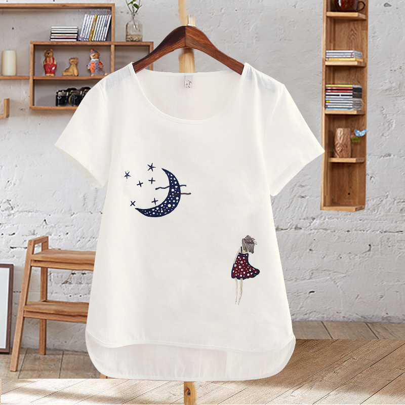 Harajuku Summer Women Tops Cotton T Shirt Embroidered Flowers Short Sleeve White T shirt Plus Size T Shirts Female Casual Top in T Shirts from Women 39 s Clothing