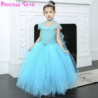 Princess Cinderella Girl Tutu Dress Pageant Sparkle Little Girls Blue Evening Party Dress with Necklace Color Can Be Costumize