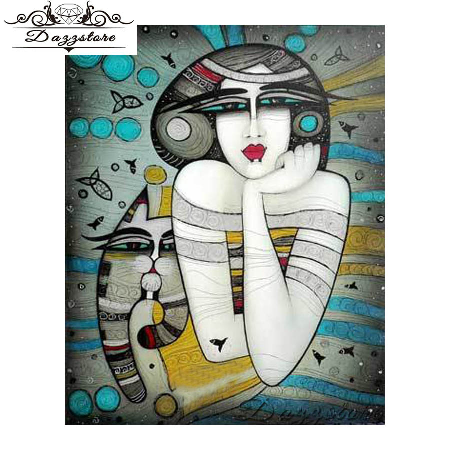 5d diy diamond painting cross stitch diamond embroidery Abstract Art Woman Cat full square diamond Mosaic Home Decoration gift in Diamond Painting Cross Stitch from Home Garden