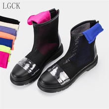 Plus Size 34-43 Genuine Leather Women Shoes Mesh Sandals Boots Block Transparent Cool Summer Spring Autumn Ankle New