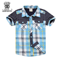XIAOYOUYU Size 110-150 cm Summer Cute Kids Casual Shirts Turn Down Collar Short Sleeve Children Plaid Shirts Fashion Boys Blouse