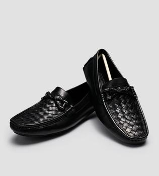 Men Weave Peas Driving Loafers Flat heel Slip on Black Real leather Man Wedding Party Dress Shoes