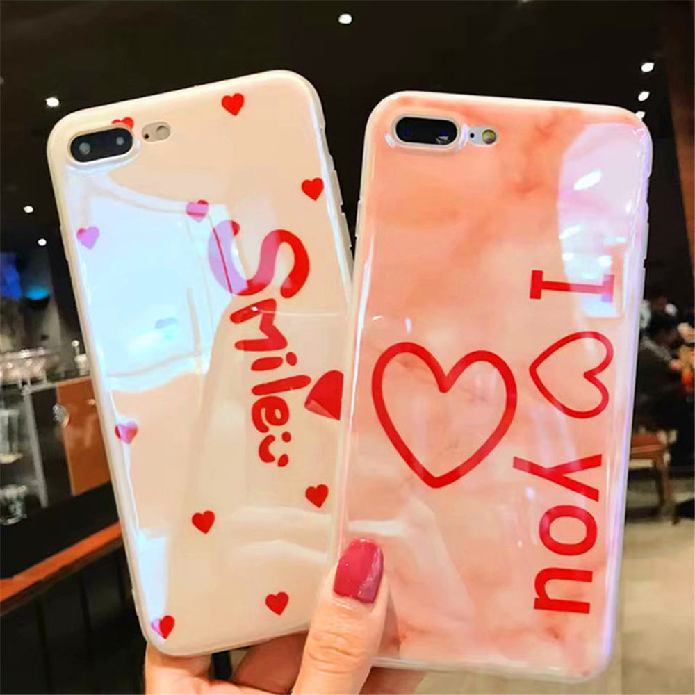Blue Ray Love Heart Crown Pattern Simple Shell Soft IMD Cases