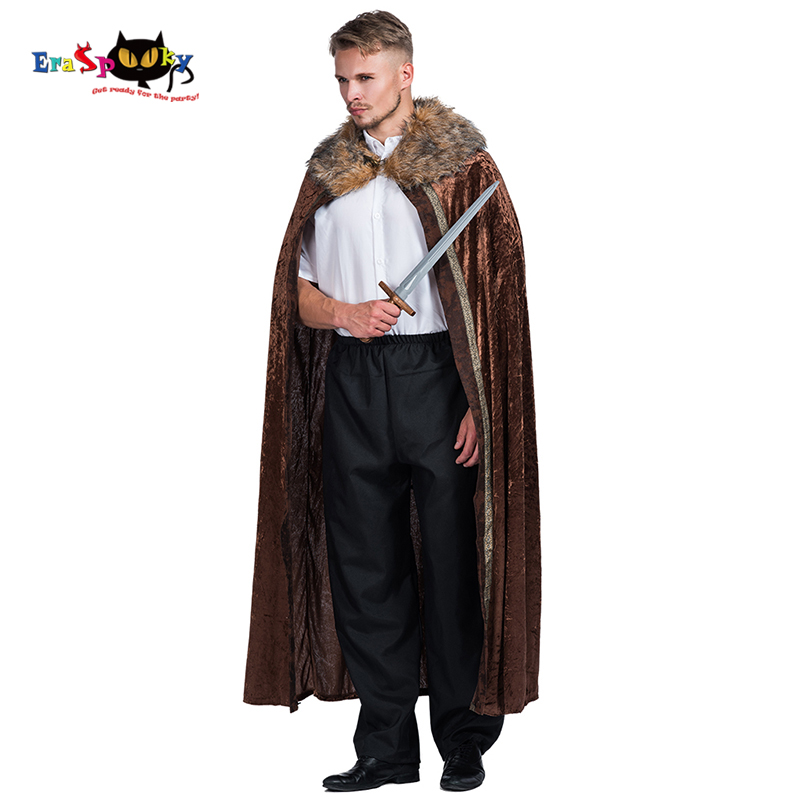 Eraspooky 2018 Brown Medieval Cloak Mens Halloween Costume Adult Knight Game of Thrones Long Cape Velvet Fur Winter Clothes