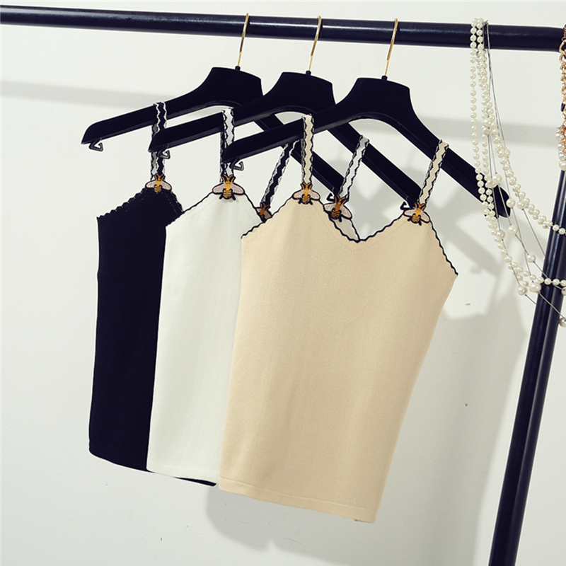 Summer Women Fashion Slim Knitting Camis   Tops   Girl Knitted Striped   Tank     Tops   Sleeveless T shirts With Bee Straps