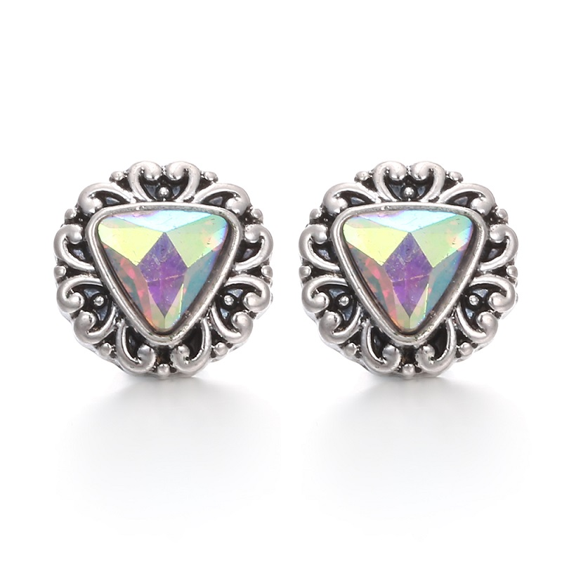 Snap Button Jewelry Rhinestone Water Drop Triangle 12mm Snap ButtonS Fashion DIY Snap Earrings Ring image
