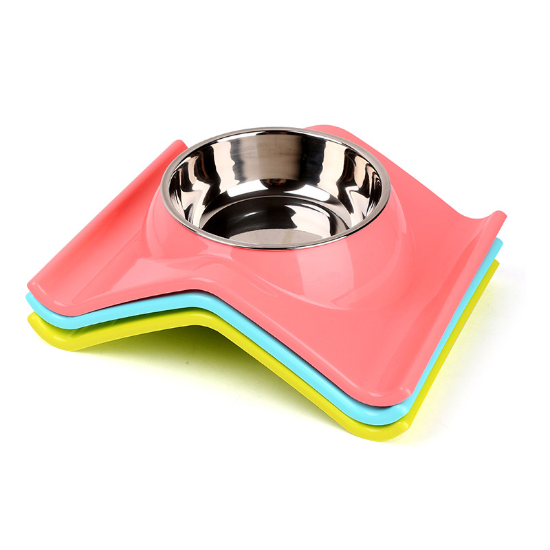DODOPET Dog Bowl Plastic Stainless Steel Combo Puppy Cat Bowl Leak Proof Pet Food Dish Water Feeder 3 Colors