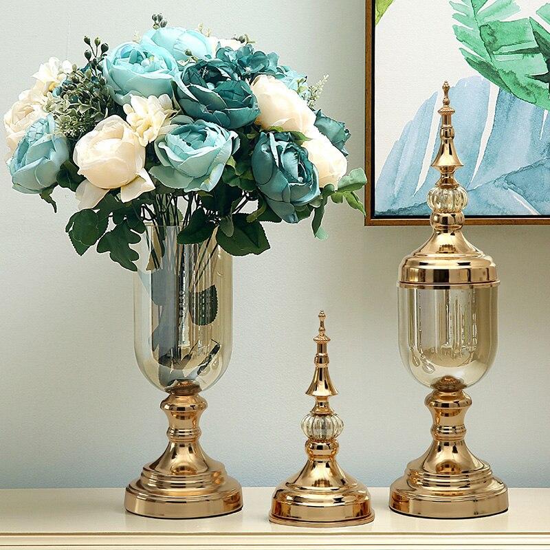 Ev ve Bahçe'ten Vazolar'de Avrupa cam vazo kristal süsler, modern minimalist Amerikan çiçek düzenleme süslemeleri yemek masası TV kabine oturma'da  Grup 1